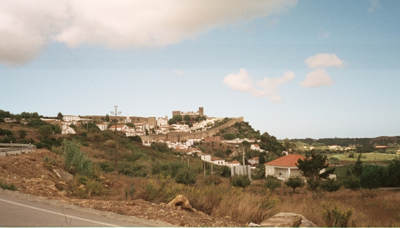 Leaving Obidos, looking back at the walls