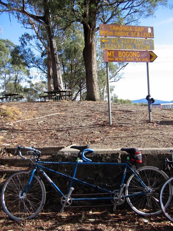 The Trek T50 at Tawonga gap, 110km to go