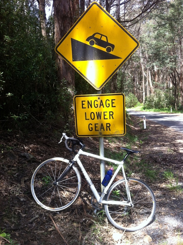 Warning on the descent -- engage lower gear