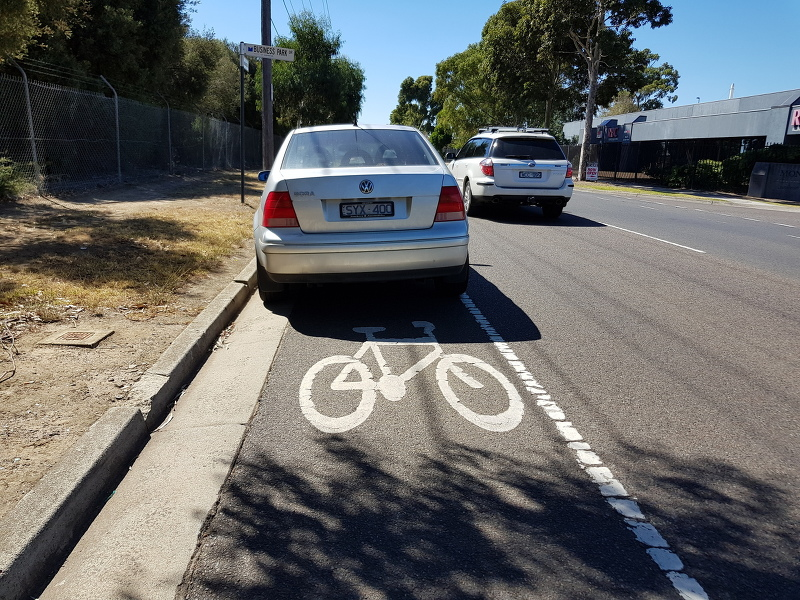 The Melbourne institution; the bikelane that you're allowed to park in, rendering it near useless for cycling